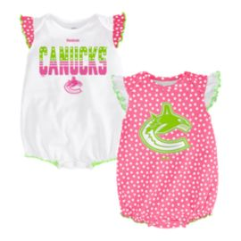 Vancouver Canucks Pink Polka Fan 2 Piece Infant Creeper Set