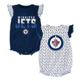Winnipeg Jets Blue Polka Fan 2 Piece Baby Creeper Set
