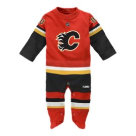 Calgary Flames Long Sleeve Newborn Coverall