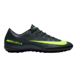 Nike Men's Mercurial Victory VI CR7 Turf Indoor Soccer Shoes - Black/Lime Green