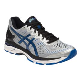ASICS Men's Gel Kayano 23 2E Wide Width Running Shoes - Silver/Black/Blue