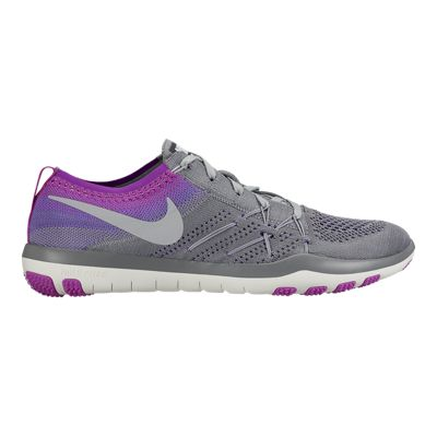 Nike Women's Free TR Focus FlyKnit Training Shoes - Grey/Purple
