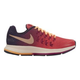 Nike Girls' Zoom Pegasus 33 Grade-School Running Shoes - Ember/Purple/Orange