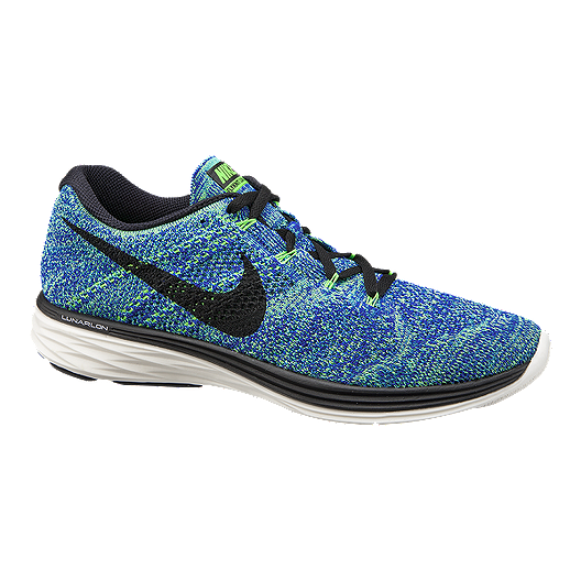size 40 79bd4 68bc3 Nike Men s FlyKnit Lunar 3 Running Shoes - Blue Green Black   Sport Chek