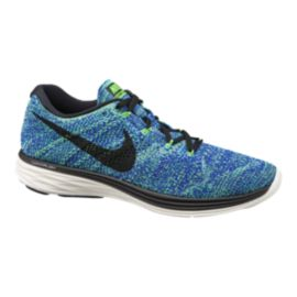 Nike Men's FlyKnit Lunar 3 Running Shoes - Blue/Green/Black