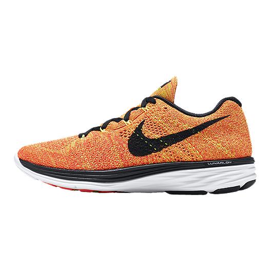 new styles f66e9 264bd Nike Women s FlyKnit Lunar 3 Running Shoes - Orange Yellow Black