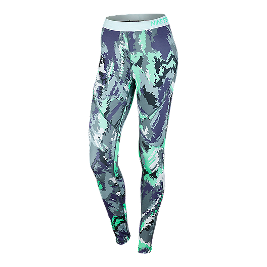 on sale 70159 fa533 Nike Pro Hyperwarm Oil Glitch Women s All Over Print Tights   Sport Chek