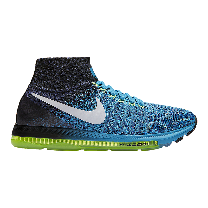 515ef1e13cd4 Nike Men s Zoom All Out FlyKnit Running Shoes - Black Blue Yellow ...