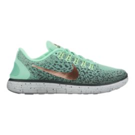 Nike Women's Free RN Distance Shield Running Shoes - Teal Green Pattern