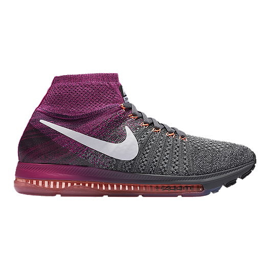 f5994e5d2e48 Nike Women s Zoom All Out FlyKnit Running Shoes - Heather Grey Berry Purple