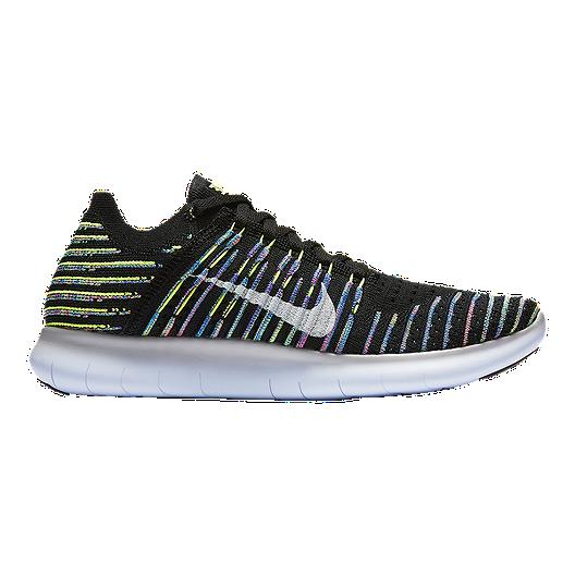 5fabc610e92d Nike Women s Free RN FlyKnit Running Shoes - Black White Rainbow ...