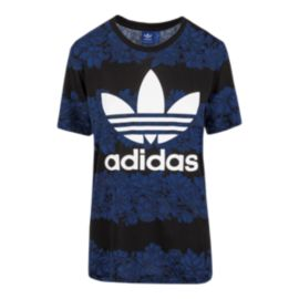 adidas Originals Blue Floral All-Over Print Women's Tee