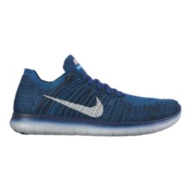 Nike Men's Free RN FlyKnit Running Shoes - Blue/White