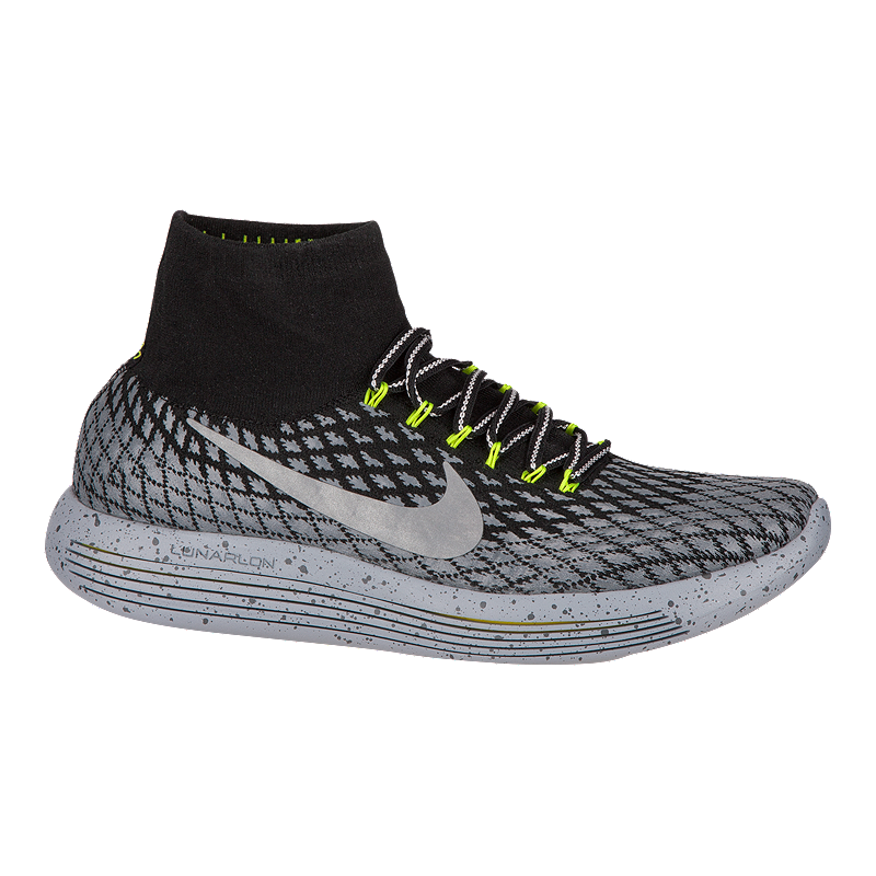 9d59db24b99dc5 Nike Men s LunarEpic FlyKnit Shield Running Shoes - Black Silver ...