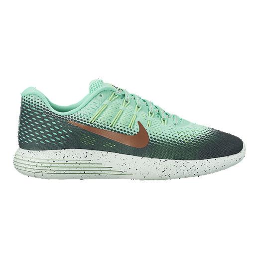 online store 50050 2e8e8 ... discount nike womens lunarglide 8 shield running shoes mint dark green  bronze c9911 a4483