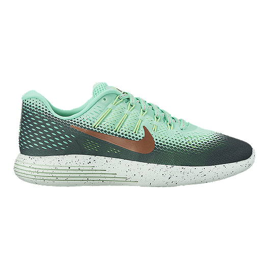 364c14608f Nike Women s LunarGlide 8 Shield Running Shoes - Mint Dark Green Bronze