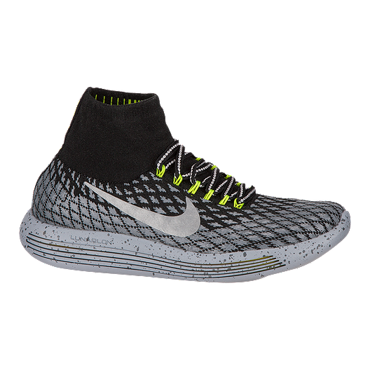 04a6d825f18 Nike Women s LunarEpic FlyKnit Shield Running Shoes - Black Grey Volt Green