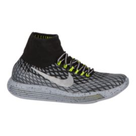 Nike Women's LunarEpic FlyKnit Shield Running Shoes - Black/Grey/Volt Green