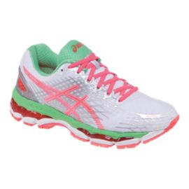 ASICS Women's Gel Nimbus 17 Running Shoes - White/Pink/Teal Green