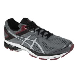ASICS Men's GT-1000 4 Running Shoes - Grey/Dark Red/Black