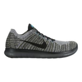 Nike Men's Free RN FlyKnit Running Shoes - Black/Silver