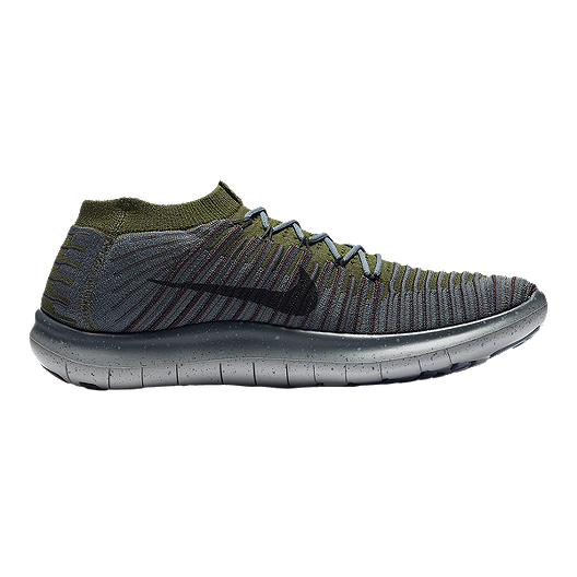 85307ce53ea Nike Men s Free RN Motion FlyKnit Running Shoes - Grey Olive Green ...