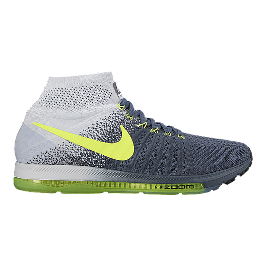 9c3224865c9f Nike Men s Zoom All Out FlyKnit Running Shoes - Dark Grey Fade Volt Green