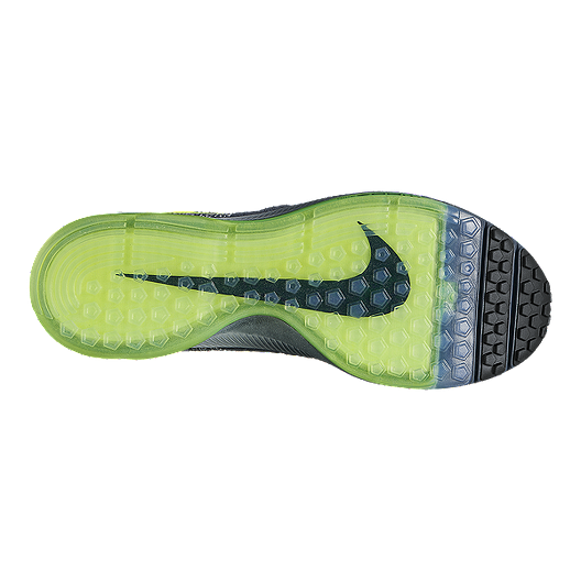 020ae15c97ea Nike Men s Zoom All Out FlyKnit Running Shoes - Dark Grey Fade Volt Green