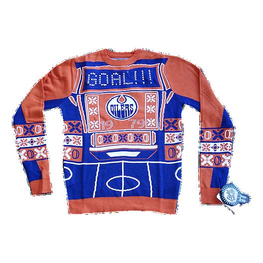 45b0221e7c5 Edmonton Oilers Light Up Ugly Sweater