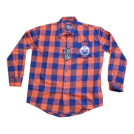 Edmonton Oilers Large Check Flannel Long Sleeve Shirt