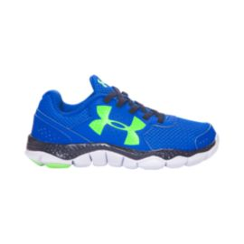 Under Armour Kids' Engage 3 Big Logo Preschool Running Shoes - Blue/Navy/Lime