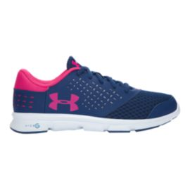 Under Armour Girls' Micro G Rave Grade School Running Shoes - Navy/Sky/Pink