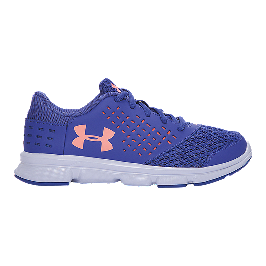 bc3073dfe1078 Under Armour Girls  Rave Preschool Running Shoes - Periwinkle Lava Orange