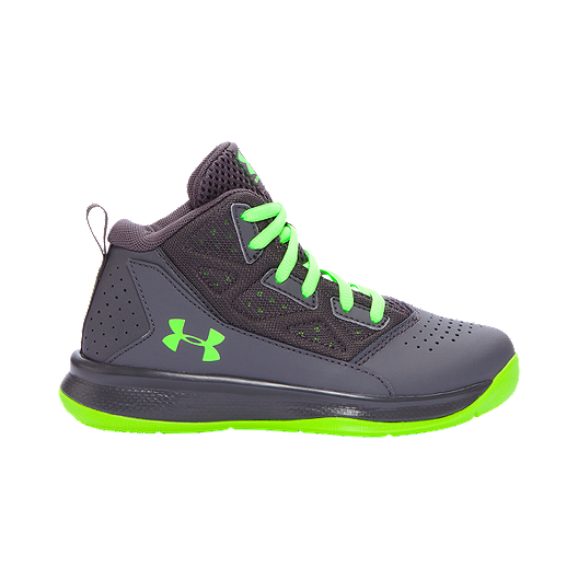 2729e9e4f080 Under Armour Kids  Jet Mid Preschool Basketball Shoes - Grey Green ...