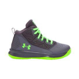 Under Armour Kids' Jet Mid Preschool Basketball Shoes - Grey/Green