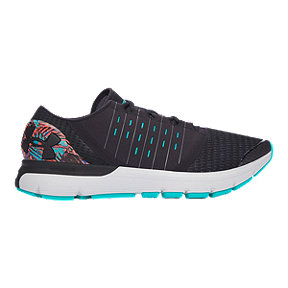 Under Armour Men's SpeedForm® Europa Record-Equipped Running Shoes - Black/Blue Pattern/White