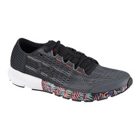 Under Armour Men's SpeedForm® Velociti Record-Equipped Running Shoes - Dark Grey/Orange Pattern