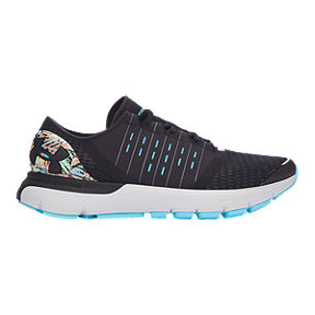 Under Armour Women's SpeedForm® Europa Record-Equipped Running Shoes - Black/Light Blue Pattern/White