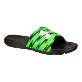 Under Armour Kids' Strike Flash SL Sandals - Black/Green/White