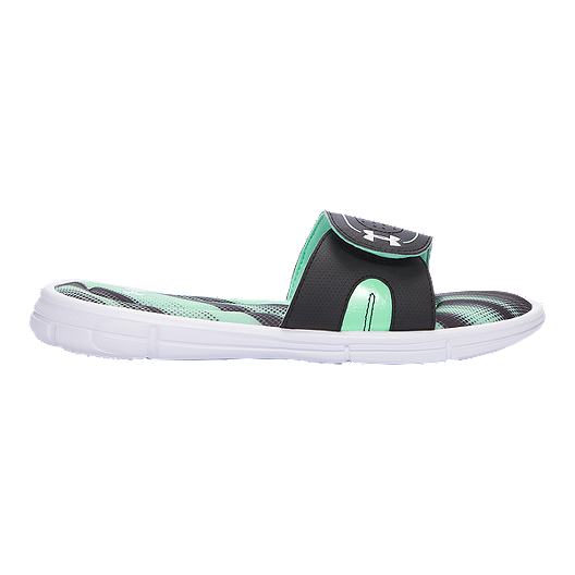 finest selection 33cc6 7c710 Under Armour Women s Ignite Finisher VIII Slide Sandals - Green Black White    Sport Chek