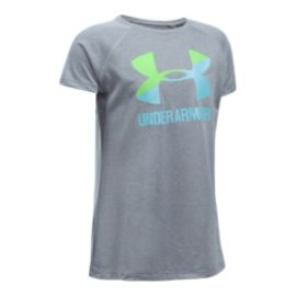 Under Armour Girls' Solid Big Logo Tech Shirt