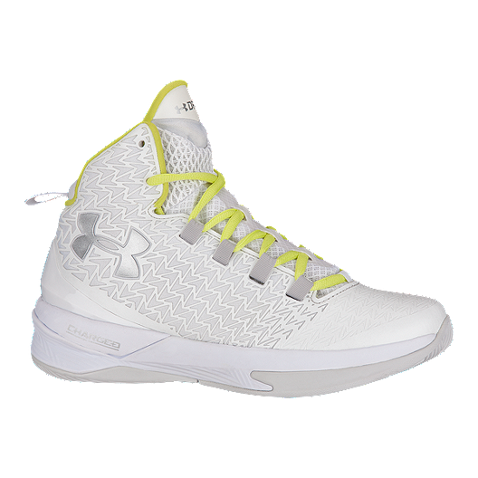 cdc9143e3698 Under Armour Women s ClutchFit Drive III Basketball Shoes - White Yellow