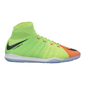 low cost 6cc22 57291 Nike Men s HyperVenomX Proximo II Indoor Soccer Shoes - Volt  Green Orange Black