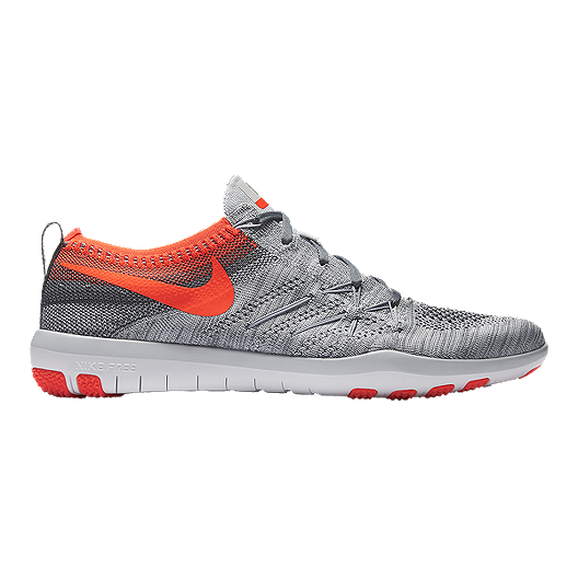 117debe7e914 Nike Women s Free TR Focus FlyKnit Training Shoes - Grey Orange ...