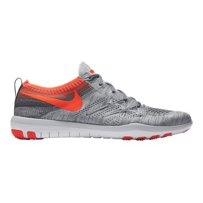 Nike Women's Free TR Focus FlyKnit Training Shoes - Grey/Orange