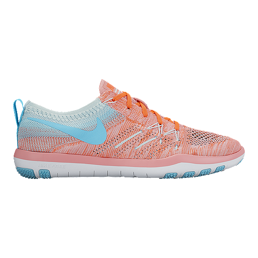 14113c881d0a Nike Women s Free TR Focus FlyKnit Training Shoes - Pink Light Blue ...