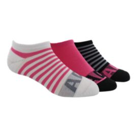 adidas Girl's Adi-Stripe No Show Socks - 3 - Pack