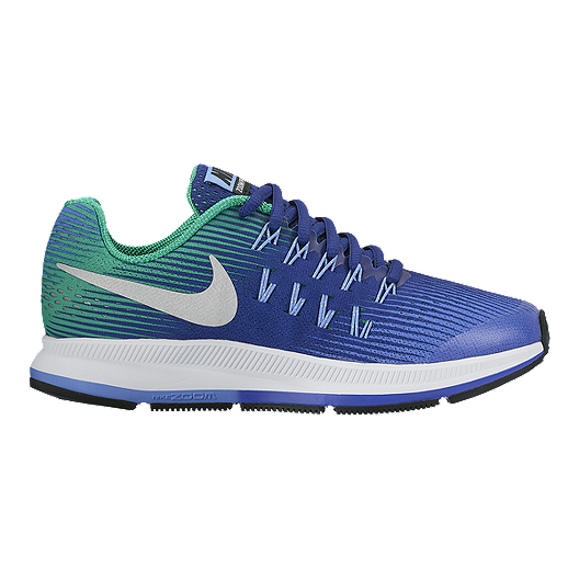 4a856ac82 Nike Kids  Zoom Pegasus 33 Grade School Running Shoes - Blue Silver Green