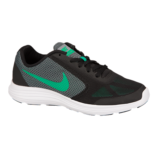 5b29ea9d6451 Nike Kids  Revolution 3 Grade School Running Shoes - Black Green Grey