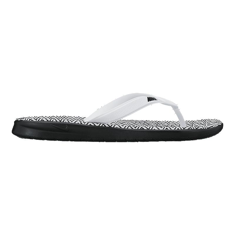 11ca85e0123445 Nike Women s Solay Thong Print Sandals - Black White